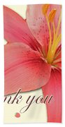 Thank You Card - Pink Lily Beach Towel
