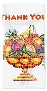 Thank You Card Fruit Vase Beach Towel