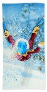 The Aerial Skier - 14 Beach Towel by Hanne Lore Koehler