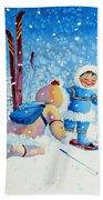 The Aerial Skier - 5 Beach Towel by Hanne Lore Koehler