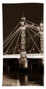 The Albert Bridge London Sepia Toned Beach Towel
