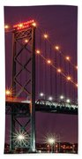 The Ambassador Bridge At Night - Usa To Canada Beach Towel by Gordon Dean II