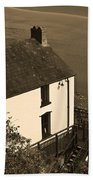 The Boathouse At Laugharne Sepia Beach Towel