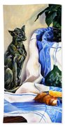The Cat And The Cloth Beach Towel