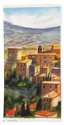 The Fortified Walled Village Of Gualdo Cattaneo Umbria Italy Beach Towel