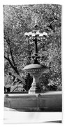 The Fountain And The Ride In Black And White Beach Towel