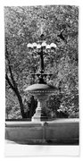 The Fountain In Black And White Beach Towel