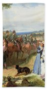 The Girls We Left Behind Us - The Departure Of The 11th Hussars For India Beach Towel by Thomas Jones Barker