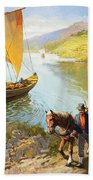 The Grape-pickers Of Portugal Beach Towel by van der Syde