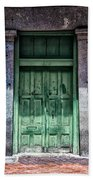 The Green Door In The French Quarter Beach Towel