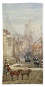 The Household Cavalry In Peascod Street Windsor Beach Towel by Louise J Rayner