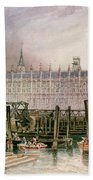 The Houses Of Parliament In Course Of Erection Beach Towel