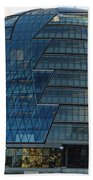 The Imposing Glass Greater London Mayoral Building On The Banks Of The Thames Beach Towel