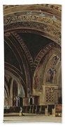 The Interior Of The Lower Basilica Of St. Francis Of Assisi Beach Towel by Thomas Hartley Cromek