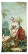 The Joys Of Motherhood Beach Towel by Jean-Honore Fragonard