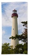 The Lighthouse At Cape May New Jersey Beach Towel by Bill Cannon