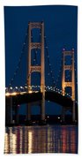 The Mackinaw Bridge At Night By The Straits Of Mackinac Beach Towel