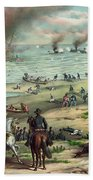 The Monitor And The Merrimac 1862 Beach Towel by Photo Researchers