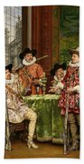 The Musketeer's Tale Beach Towel by Adolphe Alexandre Lesrel
