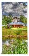 The Old Barn By The Pond Beach Towel