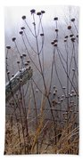 The Old Fence - Blue Misty Morning Beach Towel