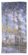 The Poplars Beach Towel by Claude Monet