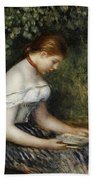 The Reader A Seated Young Girl  Beach Towel by Pierre Auguste Renoir