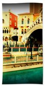 The Rialto Bridge Of Venice In Las Vegas Beach Sheet