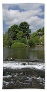 The Riverside And Weir - Bakewell Beach Towel