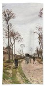 The Road To Saint Cyr At Louveciennes Beach Towel by Camille Pissarro