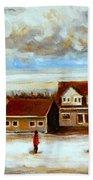The Schoolhouse Winter Morning Quebec Rural Landscape Beach Towel