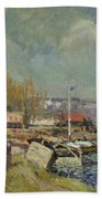 The Seine At Port-marly Beach Towel by Alfred Sisley