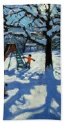 The Slide In Winter Beach Towel by Andrew Macara