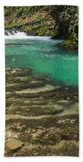 The Soteska Vintgar Gorge In Autumn Beach Towel