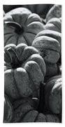 The Squash Harvest In Black And White Beach Towel
