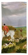 The Suffolk Hunt - Going To Cover Near Herringswell Beach Towel