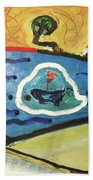 The Sun And A Boat Painting Beach Towel