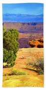 The Tree The Canyon And The Mountains Beach Towel