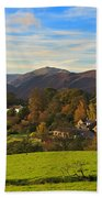 The Village Of Watermillock In Cumbria Uk Beach Towel