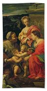 The Virgin And Child With Saints Beach Towel by Simon Vouet