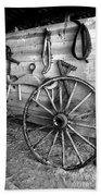 The Wagon Wheel Bw Beach Towel