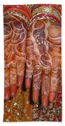 The Wonderfully Decorated Hands And Clothes Of An Indian Bride Beach Towel