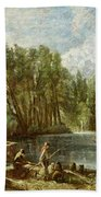 The Young Waltonians - Stratford Mill Beach Towel by John Constable
