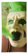 Theater Mask Spewing Green Smoke Beach Towel