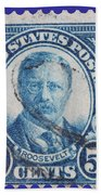 Theodore Roosevelt Postage Stamp Beach Towel