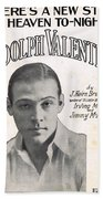 There's A New Star In Heaven Tonight Rudolph Valentino Beach Towel