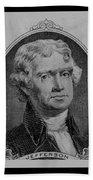 Thomas Jefferson In Black And White Beach Towel