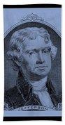 Thomas Jefferson In Cyan Beach Towel