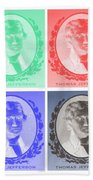 Thomas Jefferson In Negative Colors Beach Towel