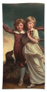 Thomas John Clavering And Catherine Mary Clavering Beach Towel by George Romney